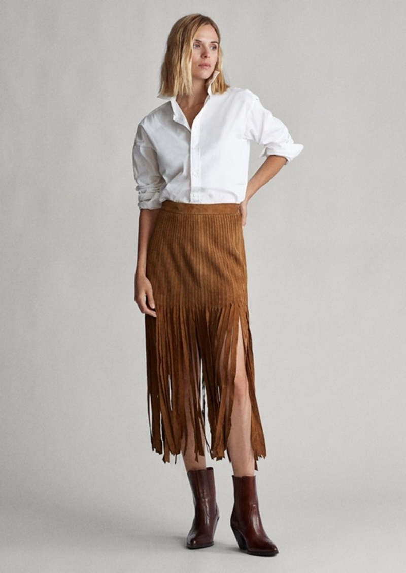 Ralph Lauren Fringe-Trim Suede Skirt