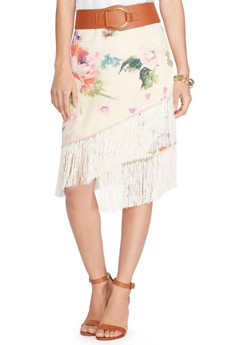 Ralph Lauren Fringed Floral Crepe Skirt