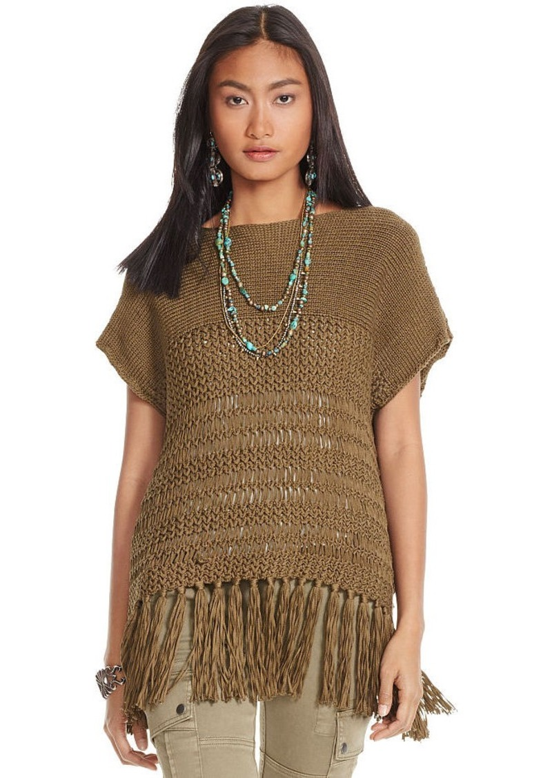 Ralph Lauren Fringed Open-Knit Sweater Tee