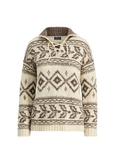 Ralph Lauren Geometric Lace-Up Sweater