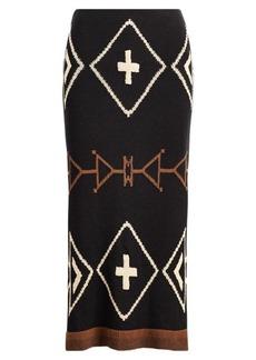 Geometric Linen-Blend Skirt