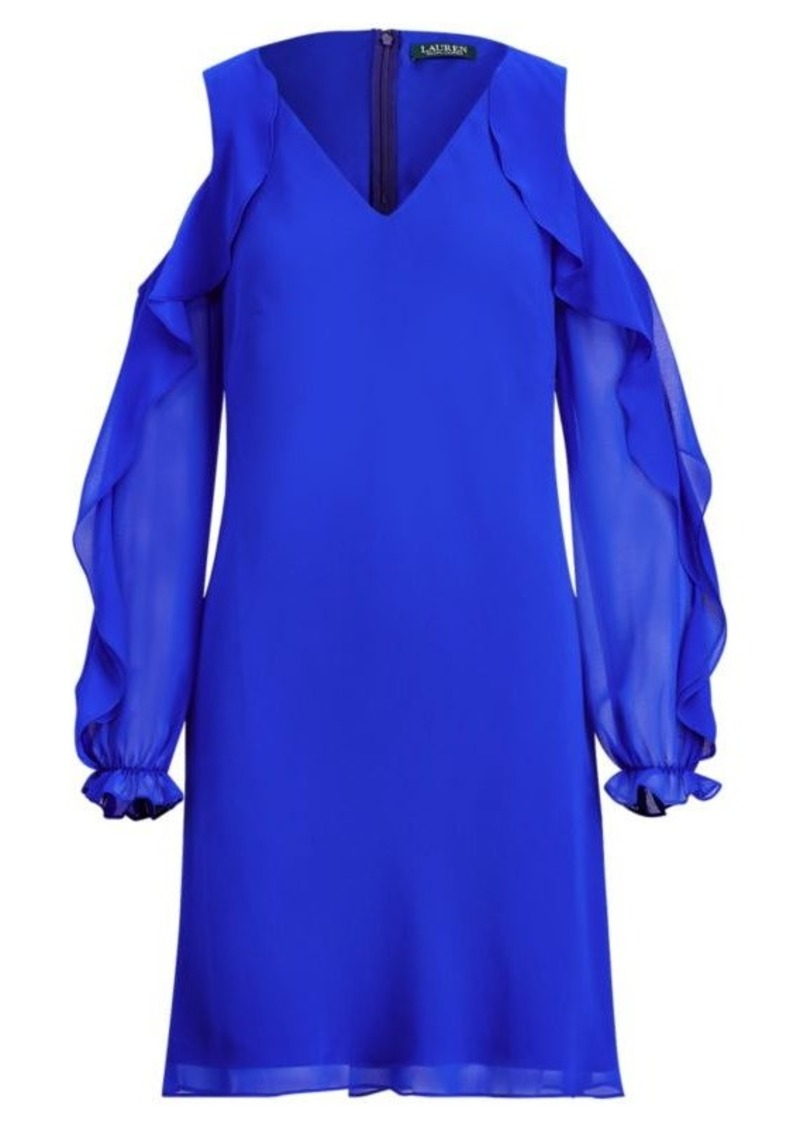 Ralph Lauren Georgette Cold-Shoulder Dress