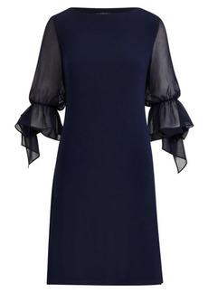 Ralph Lauren Georgette-Sleeve Jersey Dress