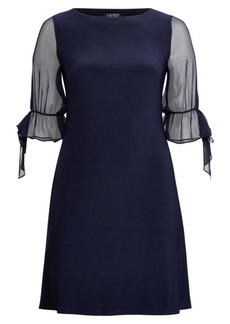 Ralph Lauren Georgette-Sleeve Jersey Dress