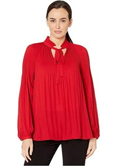Ralph Lauren Georgette Tie-Neck Top