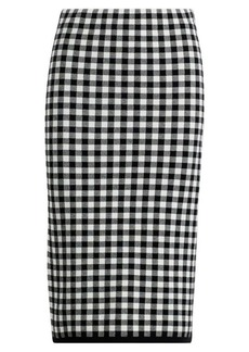 Gingham Knit Pencil Skirt