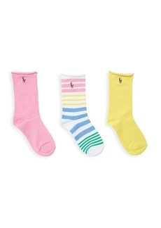 Ralph Lauren Girl's 3-Pack Assorted Roll-Top Socks