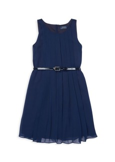 Ralph Lauren Girl's Belted Chiffon A-Line Dress
