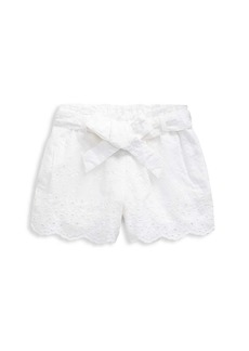 Ralph Lauren Girl's Belted Eyelet Lace Shorts