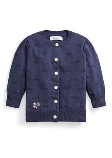 Ralph Lauren Girl's Embroidered Rib Knit Cardigan, Size 6-24M