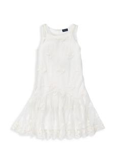 Ralph Lauren Girl's Embroidered Sleeveless Dress