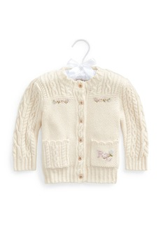 Ralph Lauren Girl's Floral Intarsia Cable Knit Cardigan, Size 6-24M