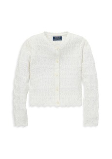 Ralph Lauren Girl's Holiday Eyelet Knit Cardigan