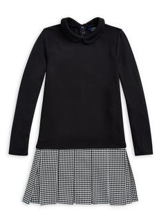 Ralph Lauren Girl's Houndstooth Interlock Dress