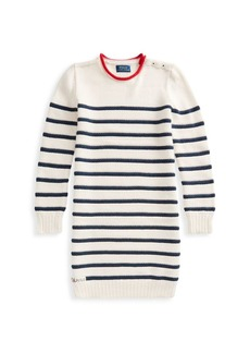 Ralph Lauren Girl's Nautical Stripe Cotton Sweater Dress
