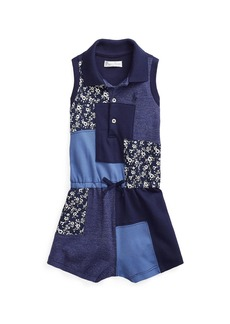 Ralph Lauren Girl's Patchwork Sleeveless Ribbed Romper, Size 9-24M