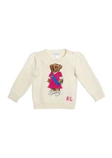 Ralph Lauren Girl's Polo Bear Intarsia Rib Knit Sweater, Size 9-24M