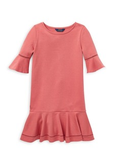 Ralph Lauren Girl's Ruffled Ponte Dress