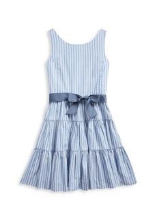 Ralph Lauren Girl's Striped Cotton Dobby Fit & Flare Dress