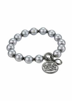 Ralph Lauren Glass Pearl Stretch Bracelet with Crest