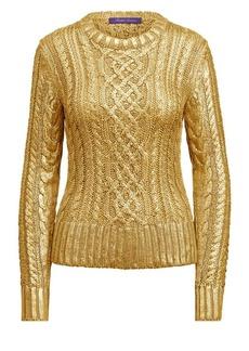 Ralph Lauren Gold Foil Cable Knit Sweater