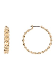 Ralph Lauren Gold-Tone Chain Link Brass Hoop Earrings