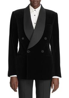 Ralph Lauren Gregory Velvet Satin-Lapel Jacket