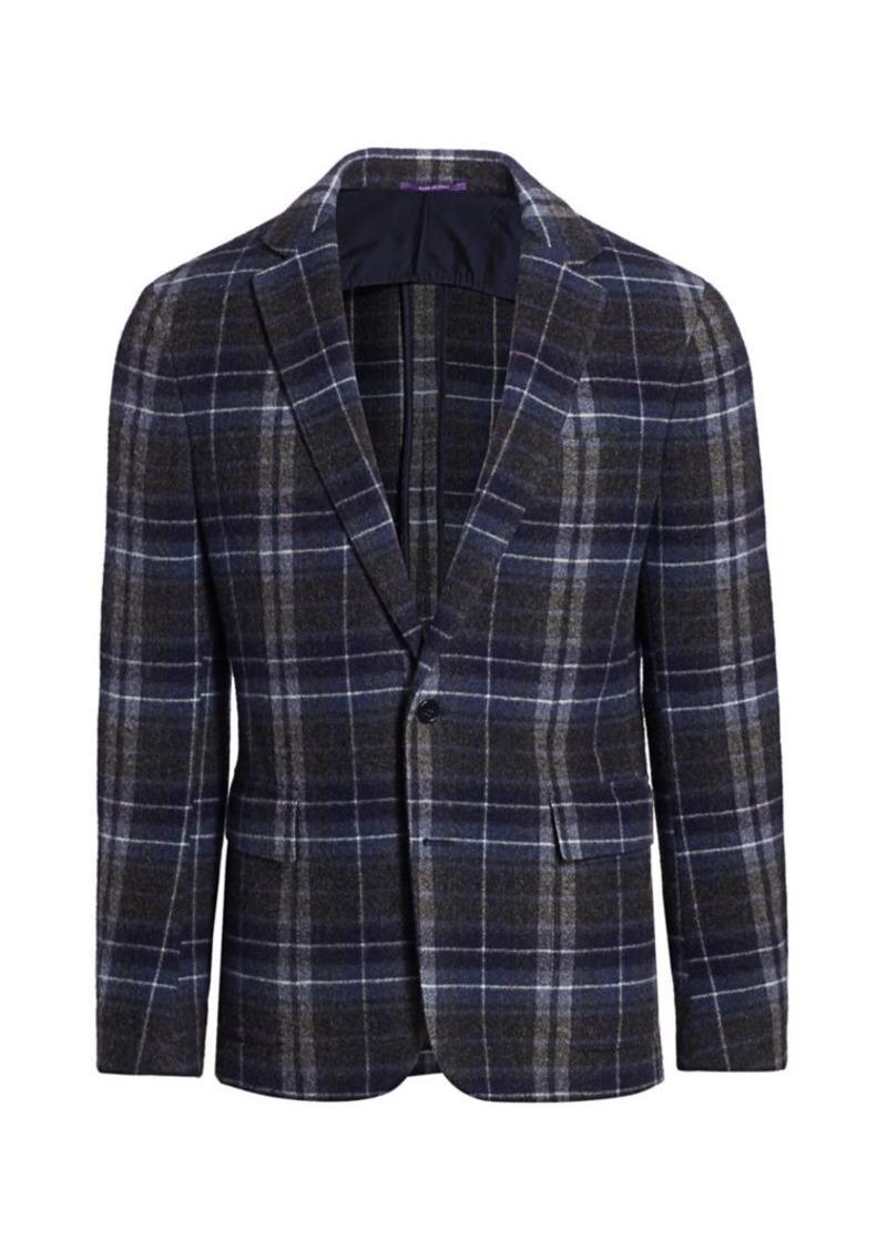 Ralph Lauren Hadley Two-Button Plaid Cashmere Jacket