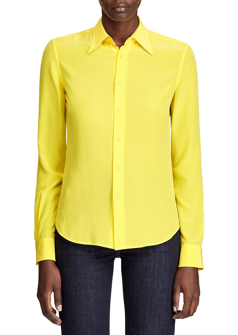 Ralph Lauren Hailey Silk Georgette Button-Front Shirt