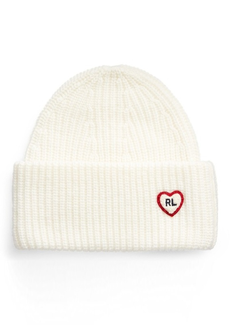 Ralph Lauren Heart-Patch Knit Hat
