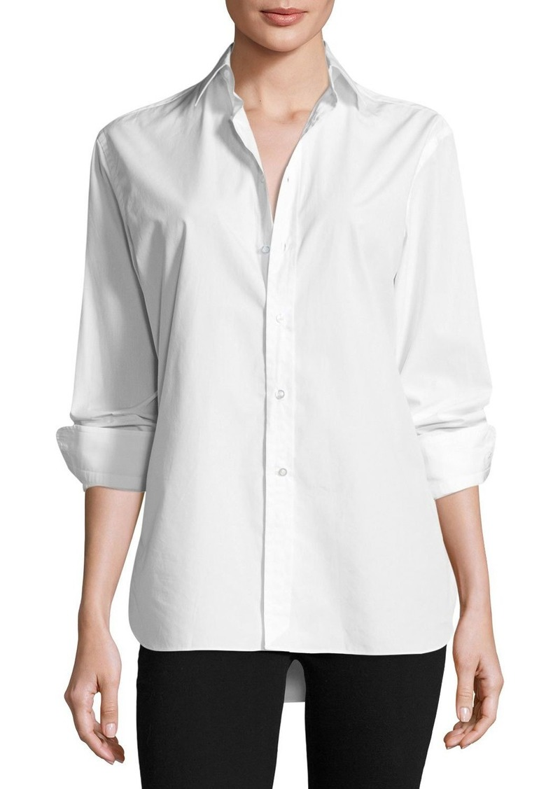 Ralph Lauren High-Low Cotton Boyfriend Blouse  White
