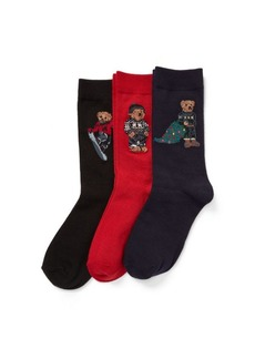 Ralph Lauren Holiday Bear Sock 3-Pack