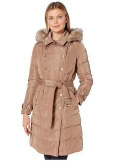 Ralph Lauren Horizontal Double Breasted Trench Faux Fur Trim