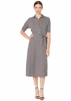 Ralph Lauren Houndstooth Matte Jersey Shirtdress