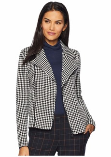 Ralph Lauren Houndstooth Wool Blend Moto Jacket