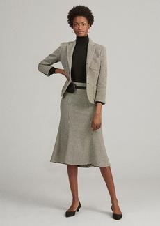 Ralph Lauren Houndstooth Wool-Blend Skirt