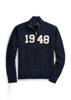 Ralph Lauren Indigo Cotton Half-Zip Sweater