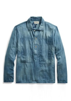 Ralph Lauren Indigo Cotton Popover Shirt