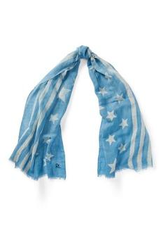 Ralph Lauren Indigo Flag Linen-Blend Scarf
