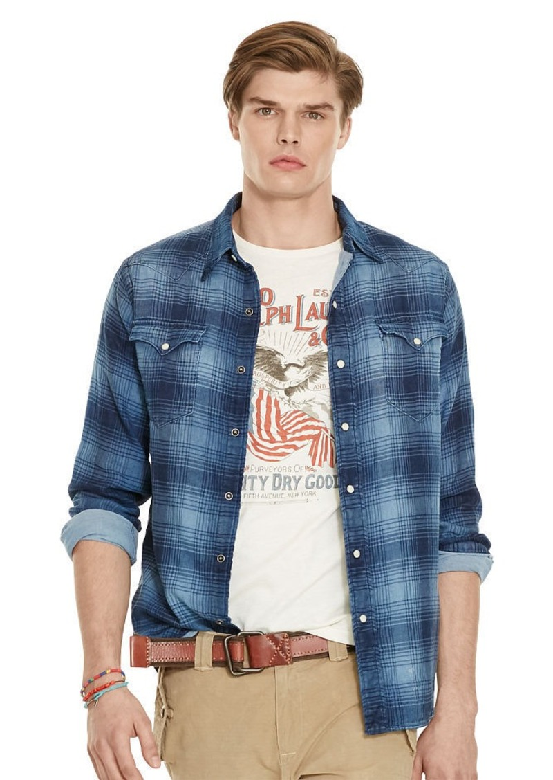 Ralph Lauren Indigo Plaid Western Shirt