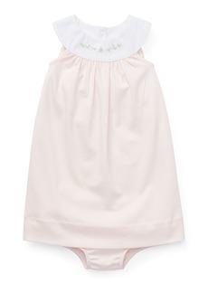 Ralph Lauren Interlock Embroidered Knit Dress w/ Matching Bloomers  Size 6-24 Months