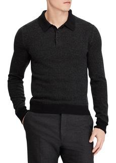 Ralph Lauren Jacquard-Knit Cashmere Polo Sweater