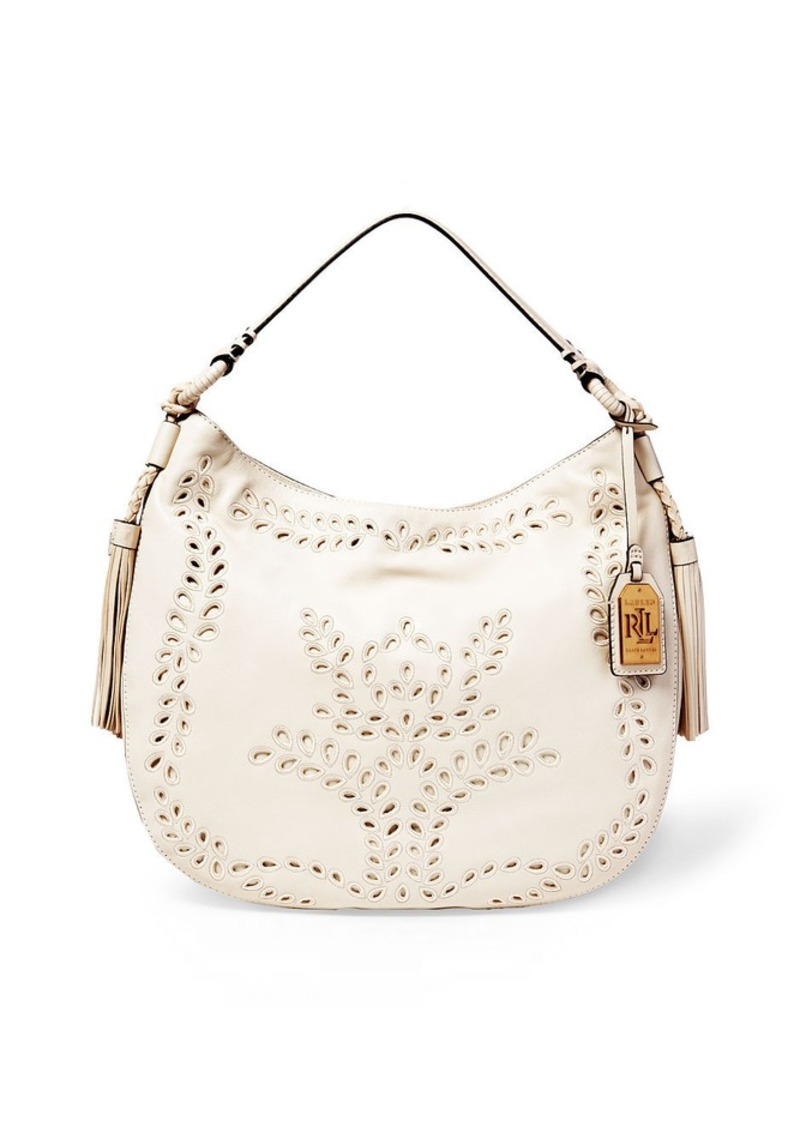 Ralph Lauren Jamie Perforated Leather Hobo
