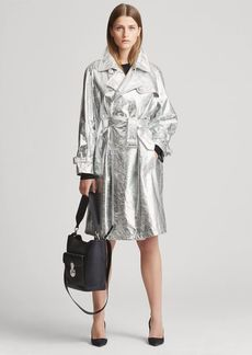 Ralph Lauren Jayne Metallic Leather Trench