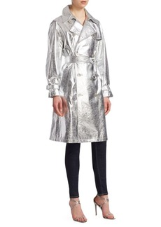 Ralph Lauren Jayne Metallic Leather Trench Coat