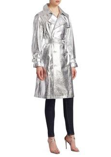 Ralph Lauren Jayne Metallic Leather Trench Coat