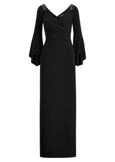 Ralph Lauren Jersey Bell-Sleeve Gown