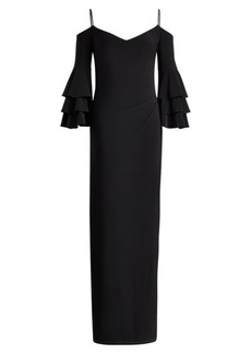 Ralph Lauren Jersey Cold-Shoulder Gown