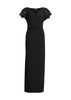 Ralph Lauren Jersey Flutter-Sleeve Gown