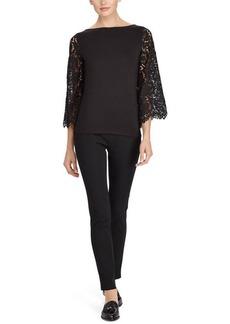 Ralph Lauren Jersey-Lace Bell-Sleeve Top